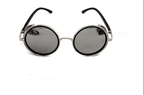 Vintage 50s Steampunk Round Mirror Lens Glasses Sun Glasses Men Women Unisex Retro Style Glasses Circle Frame Blinder Sunglasses Cyber Goggels Eyeglasses Eyewear Grey 4