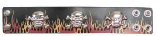 Leather Wristband with Metal Skulls and Fire Design