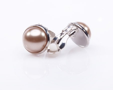 Taupe Color Pearl Clip-on Earrings - 14mm Brown Pearls