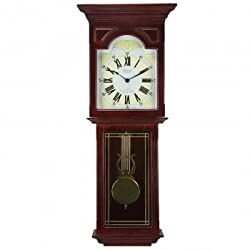 Bedford Clock Collection Redwood 23 Wall Clock with Pendulum and Chime