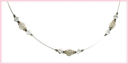 Sterling Silver LDS Baptism Necklace for Girls with White Jade and Crystals (13 inch)