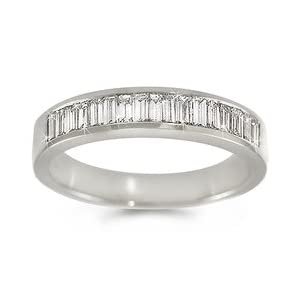 CleverEve's Channel-Set Baguette Diamond Ring in 18k White Gold