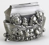 Noah's Ark Animals Brushed Pewter Coin Bank - 1
