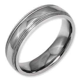 Genuine IceCarats Designer Jewelry Gift Titanium Grooved And Beaded Edge 6Mm Polished Band Size 13.00