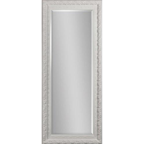 Full length Beveled Mirror   White Lacquered Frame
