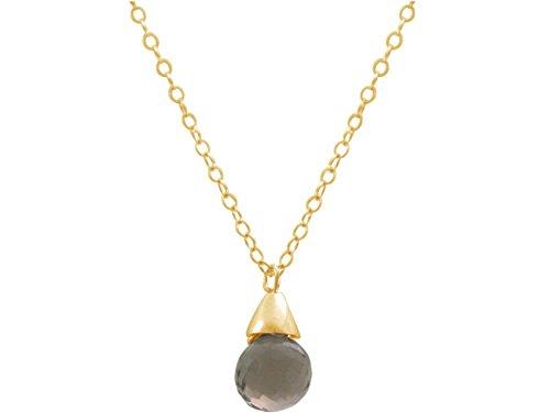 gemshine-damen-halskette-anhanger-vergoldet-rauchquarz-tropfen-braun-45-cm
