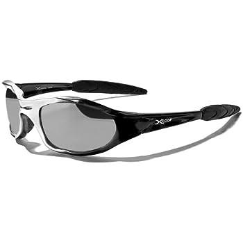 X-Loop Lunettes de Soleil - Sport - Cyclisme - Ski - Conduite - Moto - Plage / Mod. 2044 Noir Gris Argent Miroir / Taille Unique Adulte / Protection 100% UV400