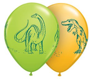 "Single Source Party Supplies - 11"" Dinosaurs In Action Assortment Latex Balloons Bag of 10 from Single Source Party Supplies"