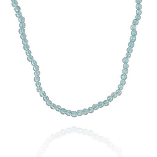 4mm Round Blue Topaz Bead Necklace, 18+2