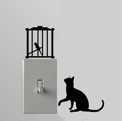 Cat And Bird Cage - Light Switch Decals - Custom Vinyl Wall Art - Made In USA color purple