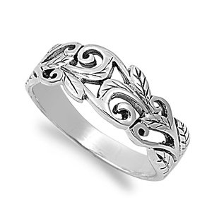 Acacia Leaves Filigree Ring Sterling Silver 925 Size 6