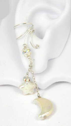 Long Dangle Sterling Silver Ear Cuff with Cold Water Pearl Moon and Star Earring for Right Ear