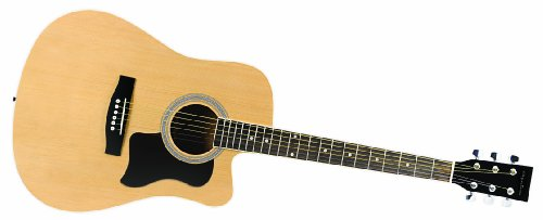 Spectrum AIL 41N Full Size Cutaway Acoustic Guitar, Matte Black and Spruce