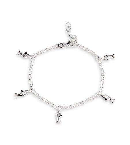 .925 Solid Sterling Silver Shark Charm Ankle Bracelet