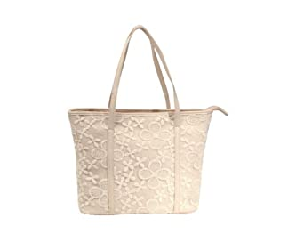 Cool2day Girls Graceful Lace Flower Design Shoulder Handbag (Model: B010436) (Beige)