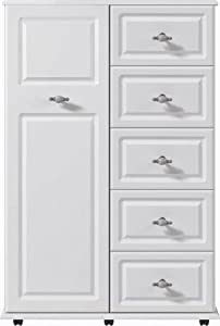 White 5 drawer linen cupboard ready assembled modern for Ready assembled bedroom furniture
