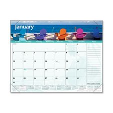 "At-A-Glance Products - Monthly Desk Pad, 12-Months, Images of The Sea, 22""x17 - Sold as 1 EA - Organize office events, meetings and appointments with this desk calendar that has captivating wide-view images of seas. Desk calendar features a one-page-per-month format, complementary background design, color scheme on each page, and four clear binding corners. Three bonus pages include current yearly reference calendar, future yearly reference calendar and a Dates to Remember Page. Each page contai"