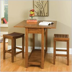Expandable Dining Table with 2 Stools
