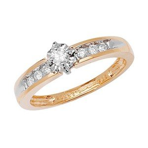 Unique Wishlist 9ct Yellow Gold 22pt Diamond Solitaire Ring with Shoulder Detail
