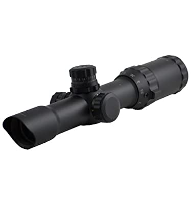 "SNIPER SCOPE 1-4X28 Compact 5"" Eye relief QTA W/E side RGB ILL Etched Chevron Glass Reticle with Ring by Sniper"