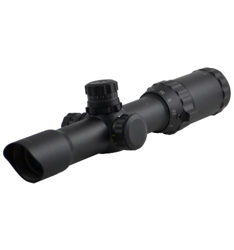 "Sniper Scope 1-4X28 Compact 5"" Eye Relief Qta W/E Side Rgb Ill Etched Chevron Glass Reticle With Ring"