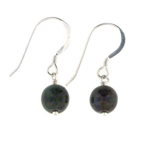 Anna Perrone Green Speckled Round Glass Bead Earrings Finished with .925 Sterling Silver
