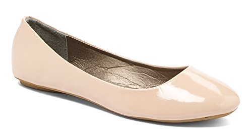 Simply Petals Girls Patent Leatherette Slip on Round Ballet Flat (Little Girl/ Big Girl) nude 3