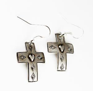Navajo Silver Revivalist Cross Dangle Earrings By Lester James
