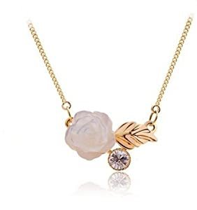 White Shell Rose Flower w/ Crystal Gold Tone Necklace Fashion Jewelry Collection