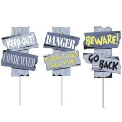 Halloween Sidewalk Signs Weatherproof Plastic Trick Or Treat Decoration 3 Pc