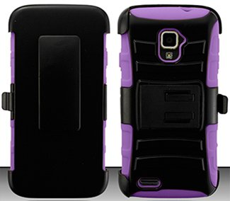 4 Items Combo For ZTE Rapido LTE Z932L (Straight Talk) Purple / Black Heavy Duty Armor Style Combat Armor Dual Layer Protective Case Cover with Built in Kickstand and Belt Clip Holster + Car Charger + Free Stylus Pen + Free 3.5mm Stereo Earphone Headsets