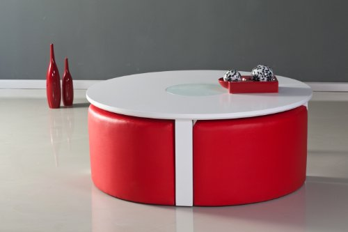 Buy Low Price Coffee Table With 4 Ottomans Red Leather Covered White Red Color Combo