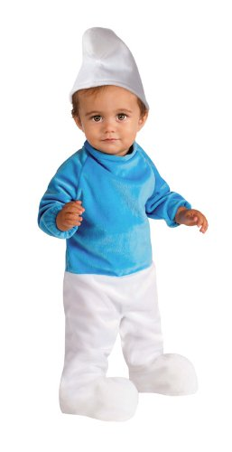 [Smurf Romper Costume, Blue, 6-12 Months] (Smurf Baby Costumes)
