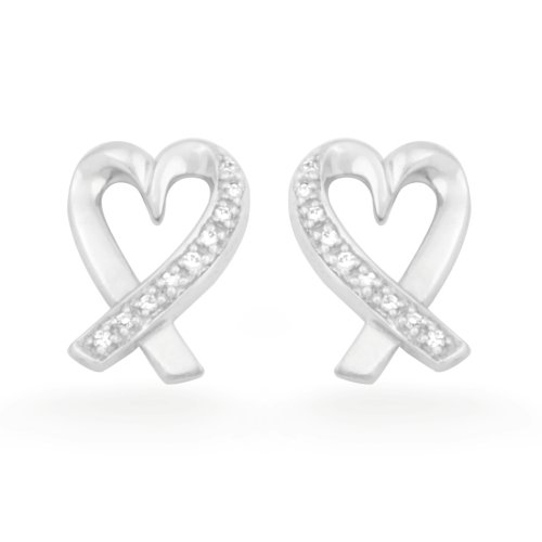 Sterling Silver Round Diamond Heart Earring (0.06 cttw)