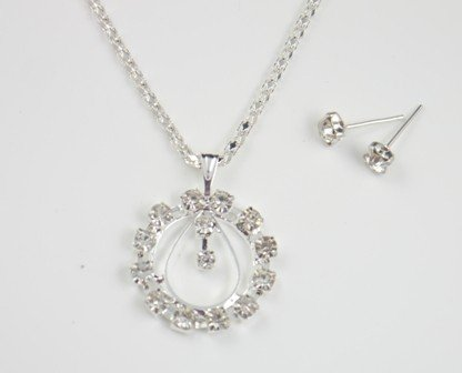 Tear Drop and Rhinestone Circle Pendant Necklace and Earrings Set