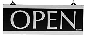 U.S. Stamp & Sign HeadLine Century Series 5x13 Inch Double Sided Open/Closed Sign, Black and Silver, 4246