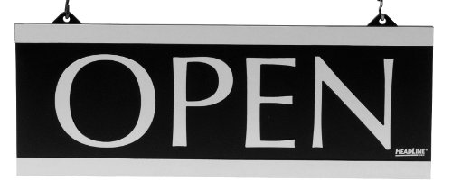 U.S. Stamp & Sign Headline Century Series 5X13 Inch Double Sided Open/Closed Sign, Black And Silver, 4246 front-908821