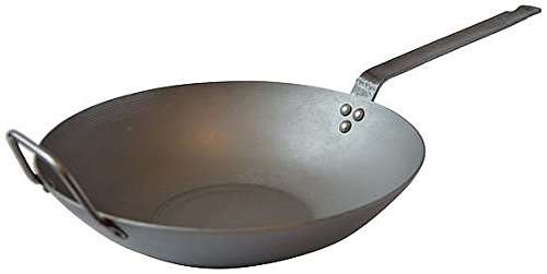 Mauviel Made In France M'Steel Black Steel Wok, 11.8