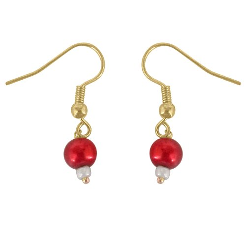 Surat Diamonds Surat Diamonds Round Shape Red Imitation Shell Pearl & Gold Plated Hanging Earrings For Women (SHE8) (Multicolor)