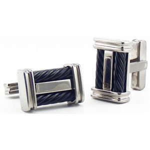 Titanium and Black Steel Cable Rectangle Cuff Links