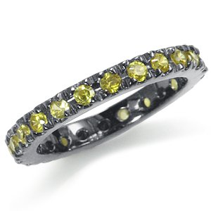 Yellow CZ 925 Sterling Silver Eternity Band Stack/Stackable Ring Size 7
