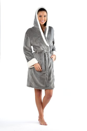 Inspirations Ladies Coral Trim Fleece Dressing Gown Bathrobe S/M 10-12 Grey