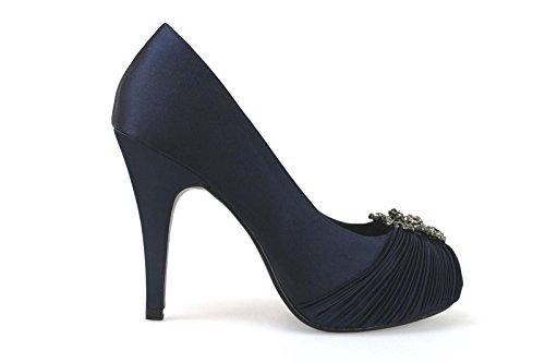 scarpe donna HAUTE COUTURE decolte blu raso AM868 (36 EU)