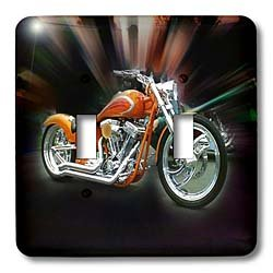 Florene Transportation - Picturing a Orange Harley Davidson Motorcycle - Light Switch Covers - double toggle switch