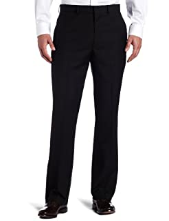 Kenneth Cole REACTION Men's Black Solid Suit Separate Pant, Black, 30x32