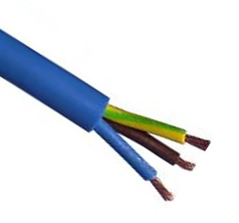 25m roll Blue Arctic grade 1.5mm² Rated 16A BS6500 3 Core Mains Flex cable. Twin and earth for IP44 hookup trailing fly leads etc