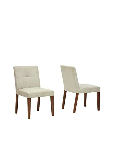 Baxton Studio Set of 2 Glen Dining Chairs, Cream