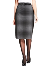 M&S Collection Ombre Checked Knee Length Pencil Skirt with Belt