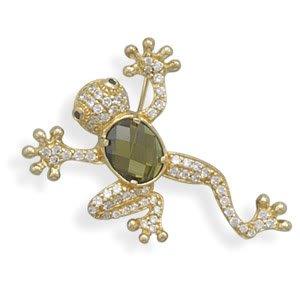 14 Karat Gold Plated CZ Frog Pin