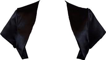 Satin Bolero Jacket Cover-up Cap Sleeve Prom Bridesmaid Junior & Junior Plus Size, Medium, Black